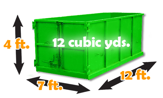 12 cubic yards - (equivalent to 3 pickup truck loads recommendations: roofing, tiles, shingles, rennovation debris)