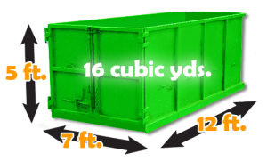 16 cubic yards - (equivalent to 4 pick up truck loads recommendations: household cleanouts, renovation debris, double garage cleanout, landscaping debris)